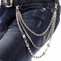 Fashion Three Strand Silver Metal Box  Ball Chain Wallet Jean Key Chain Trousers Pant Chain Hip Hop Belts KB09