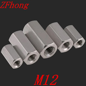 5pcs M12x15/20/25/30/40 Stainless steel long hex coupling nut(China)