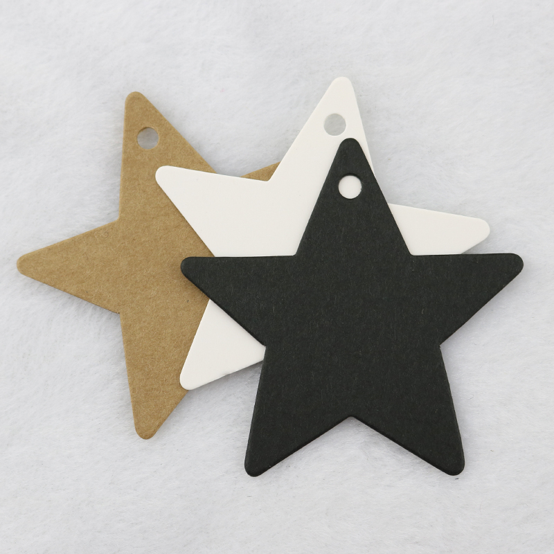 100pcs/lot Kraft Paper Hang Tags Star Design For Wedding Party Favor Punch Label Price Gift Cards 6x6cm