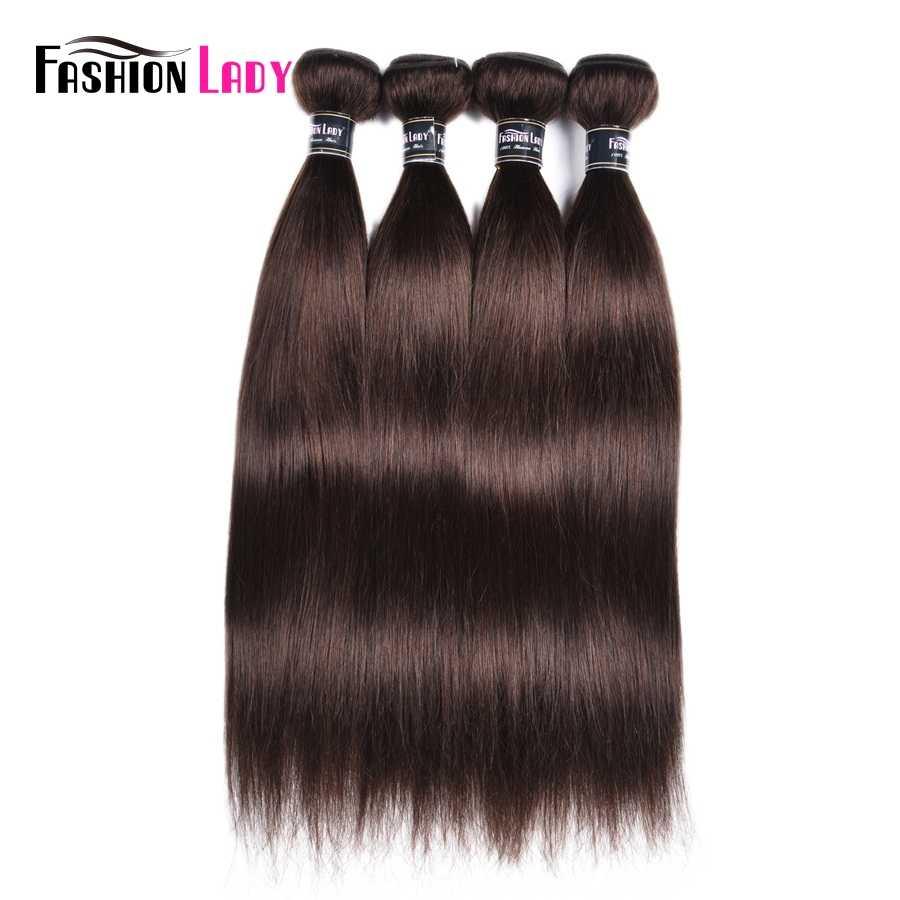 Moda bayan ön renkli malezya düz saç demetleri koyu kahverengi renk #2 İnsan saç uzatma 1/3/4 paket başına paket sigara remy