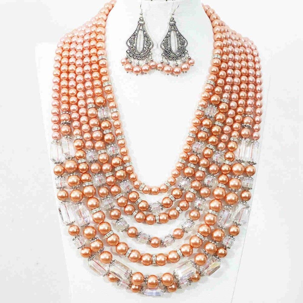 Original bricolage 7 rangées de perles africaines de mariage bijoux de mariée ensemble cristal Faux Shell collier boucle d'oreille pour les femmes déclaration collier B1415