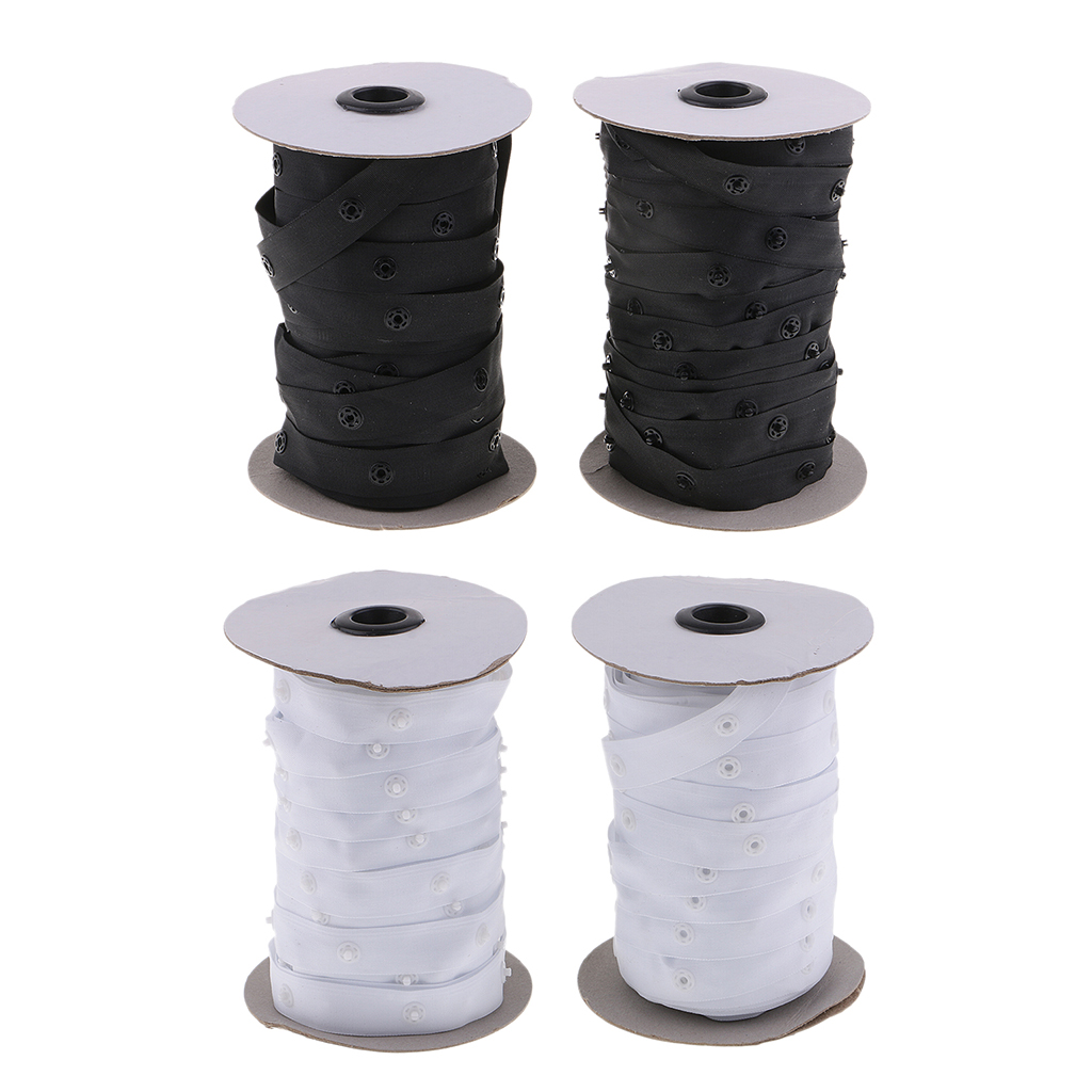 2 Rolls 50 Yards Resin Button Snap Tape Polyester Twill Sewing Duvet Cover Coat FastenersButtons   -