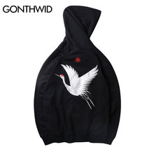 GONTHWID Hooded-Sweatshirts Crane Male Hoodie Embroidery Streetwear Japanese Hip-Hop
