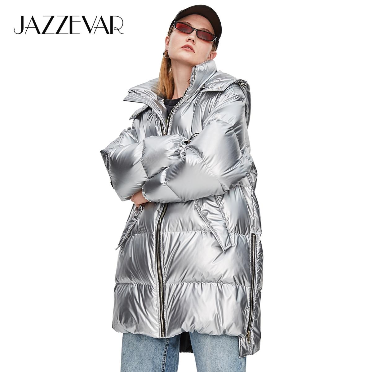 JAZZEVAR 2019 Winter New Fashion Street Womens Edgy Sliver Long Down Jacket Cool Girls Zipper Hooded