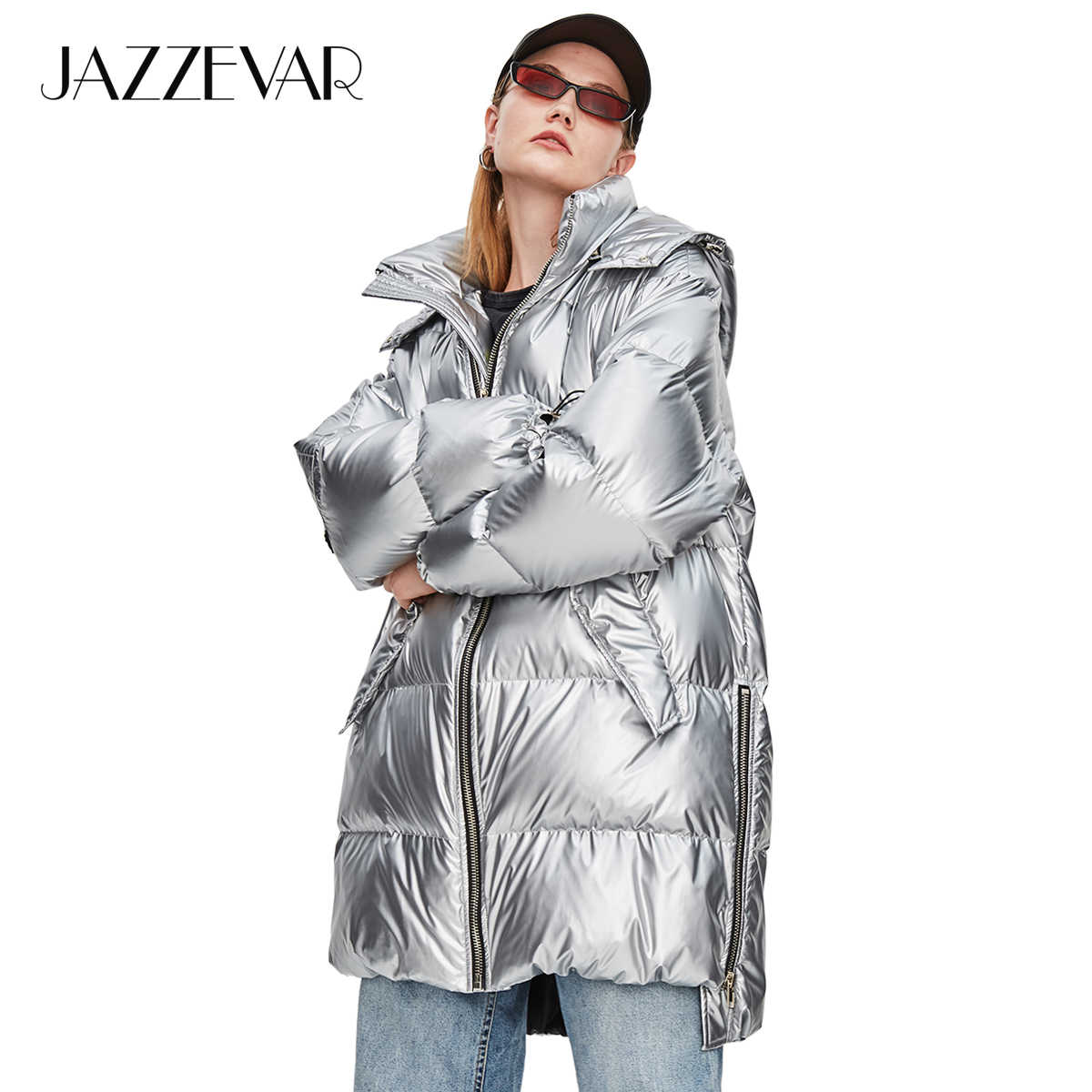 80099af31 JAZZEVAR 2018 Winter New High Fashion Street Womens Edgy Sliver Long Down  Jacket Cool Girls Zipper Hooded Down Coat Outerwear