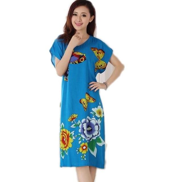 Venda quente Do Vintage de Verão de Manga Curta da Senhora Camisola de Algodão Estilo Chinês Robe Bath Vestido Flor Sleepwear Um Tamanho T067
