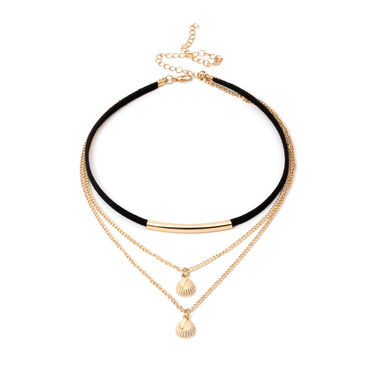 Gothic Multilayer Ocean Seashell Beach Pendants Necklace Women Fashion Gold Black Velvet Beach Shell Chain Necklace Jewelry in Pendant Necklaces from Jewelry Accessories