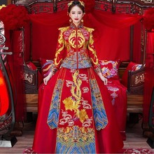 лучшая цена Bride Traditions Chinese Traditional Wedding Dress Women Phoenix Embroidery Cheongsam Red Qipao Long Oriental Style Dresses