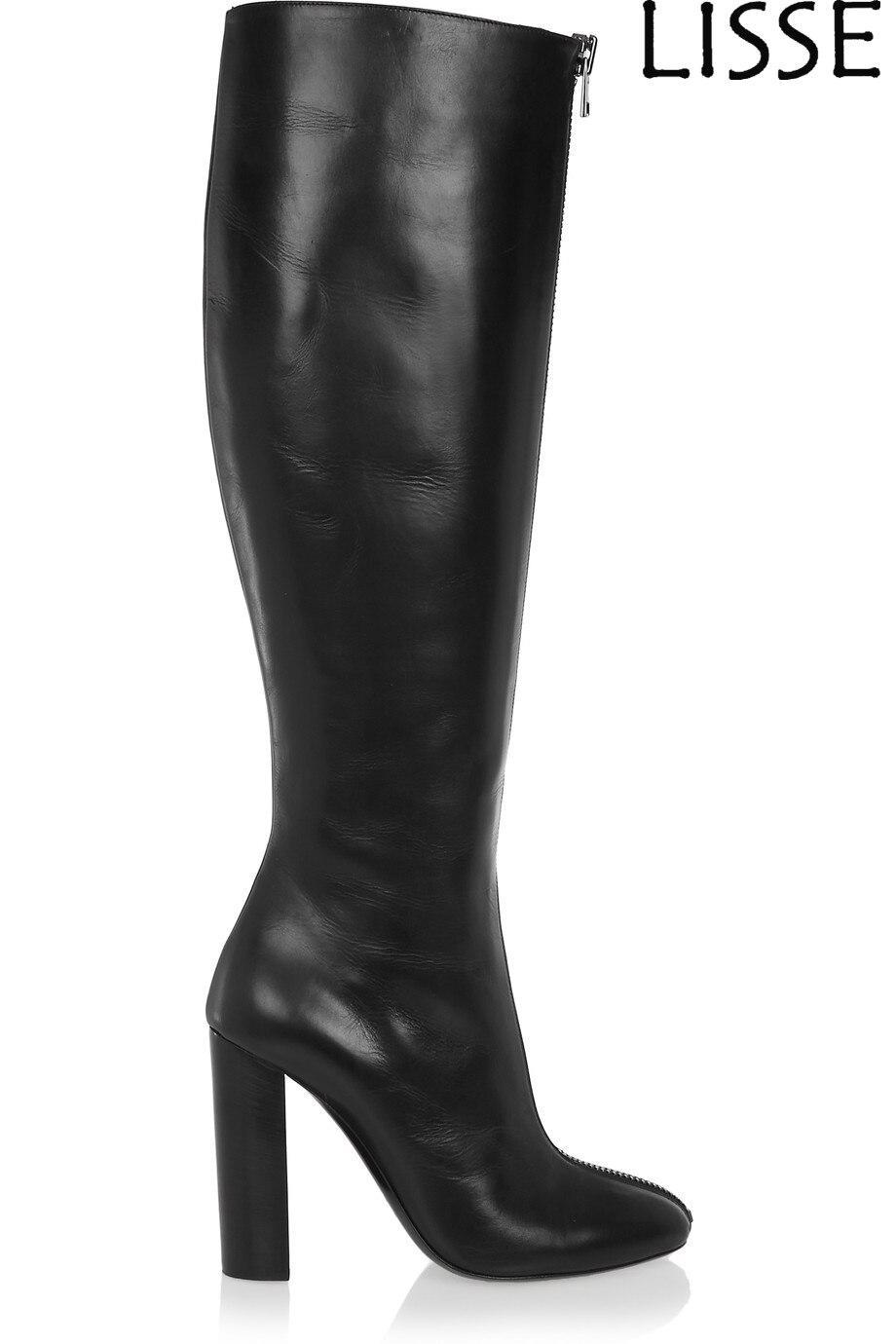 Fashion Women Round Toe Knee High Boots Chunky Heel Shoes Zipper Big Size 15 16 17 Winter Dress Knee Boots