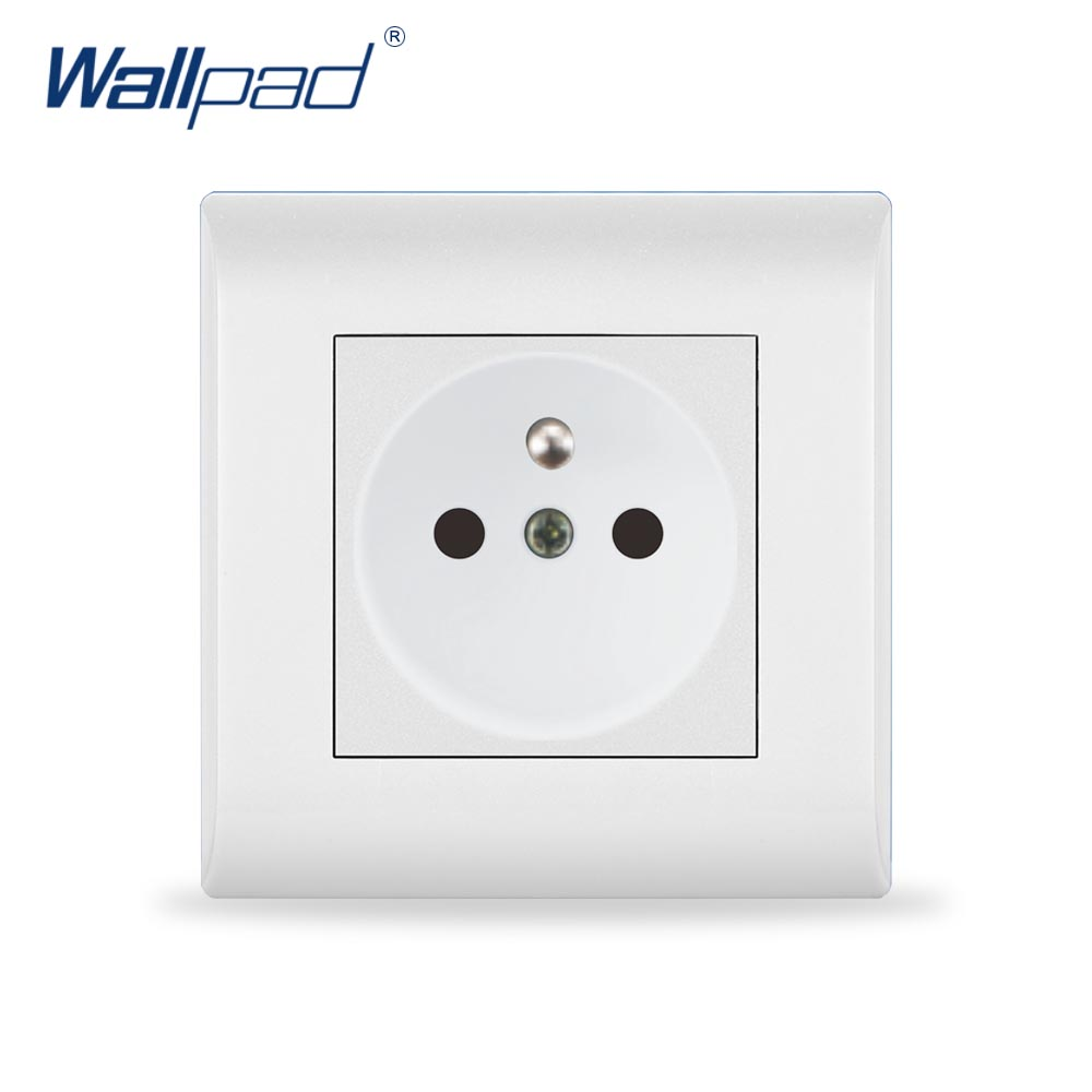 2018 New Arrival 16A EU French Socket Wallpad Luxury White Wall Light Switch  AC110~250V PC Panel 15a 16a south africa socket and double ubs socket wallpad 146 86mm white glass 2 usb ports and 16a sa switched socket with led