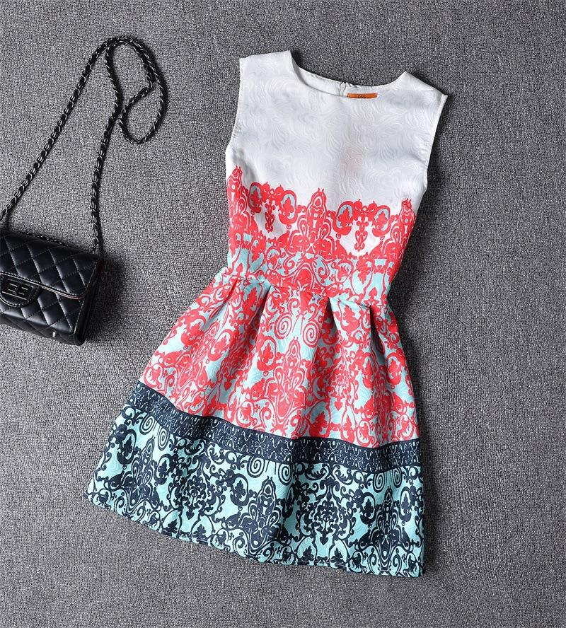 New Summer Style Dresses For Girl Floral Printed Sleeveless Formal ...