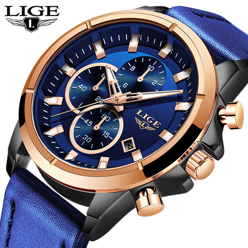 LIGE Casual relojes deportivos para hombres azul marca superior de lujo reloj de pulsera de cuero militar hombre reloj de pulsera cronógrafo de moda