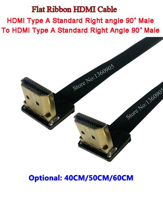 40CM/50CM/60CM Flat Ribbon Cable Soft Flex HDMI Cable Up Angle Standard Male To Male HDMI Standard Right Angle 90 Degree