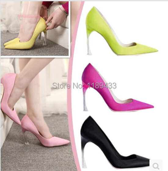 Fashion candy color horseshoe satin material pointed toe women high-heeled dress shoes satin fabric hoof heeled wedding pumps