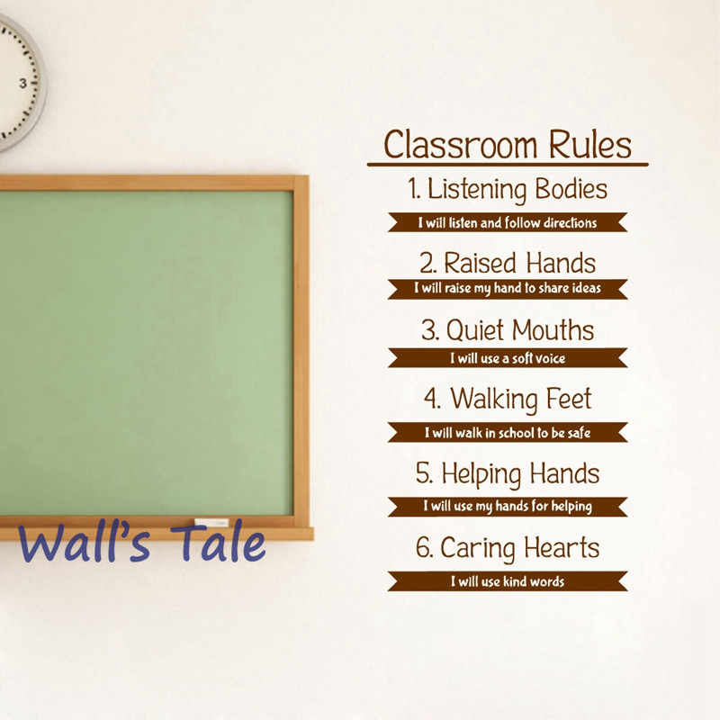 Classroom Rules Wall Decal Education Study Learning Inspirational Quote  Vinyl Sticker Motivational School Interior Decorations