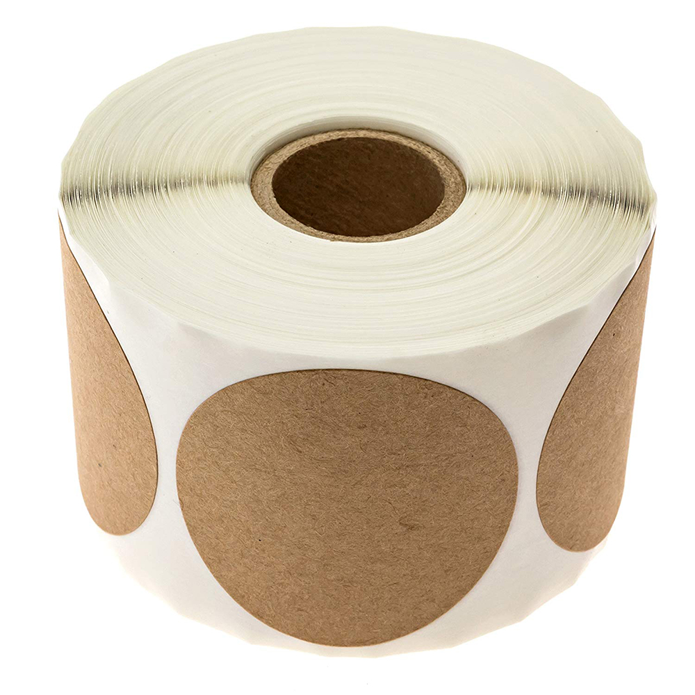 "2""Coding Kraft Sticker Natural Kraft Paper Dot Stickers 500pcs Round Circle Self Adhesive Blank Kraft For Handmade Products"