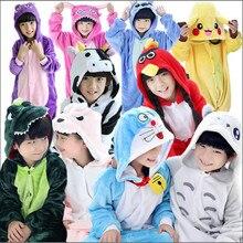 Зимний пижамный комплект для девочек, фланелевые пижамы с капюшоном и рисунком животных для костюмированной вечеринки с изображением Пикачу и единорога, детские пижамы для мальчиков, одежда для сна, комбинезоны