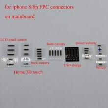 20pcs LCD תצוגת בית כפתור קדמי חזרה מצלמה כוח נפח usb תשלום סוללה FPC מחבר על mainboard עבור iPhone 8 8g בתוספת