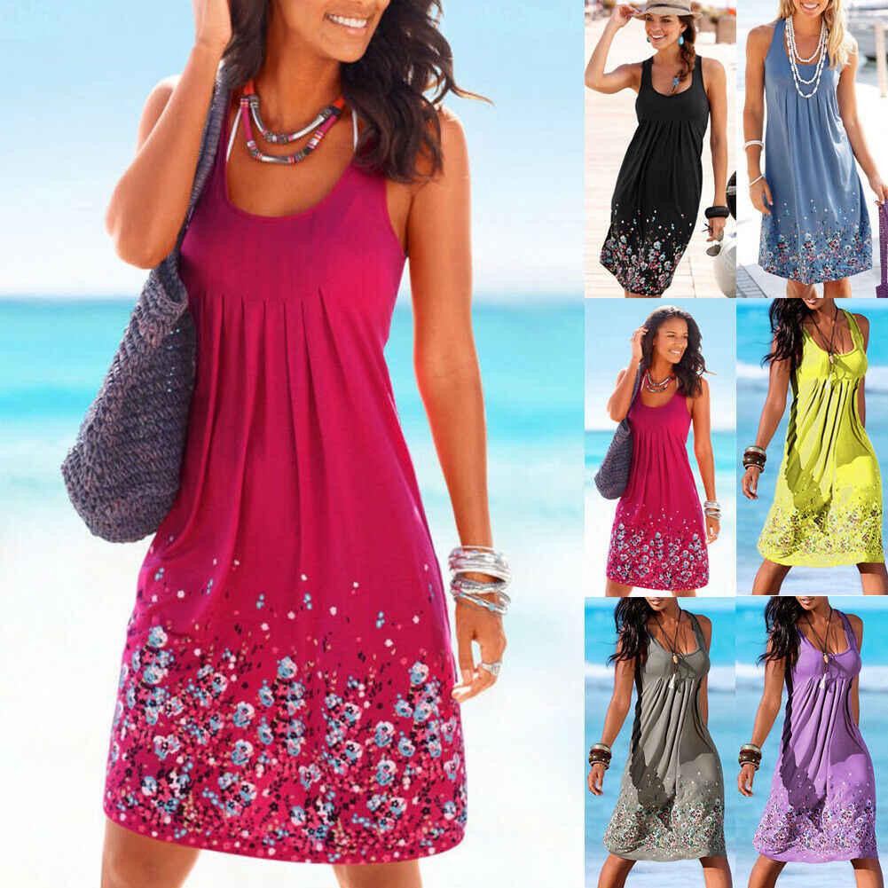 Hirigin женское летнее платье без рукавов богемный пляжный сарафан женские Коктейльные Вечерние Платья с цветочным принтом Большие размеры