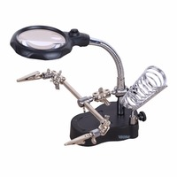 3.5X 12X 65mm fresnel lens 2 LED Magnifying Glass Light Third Hand Auxiliary Clamp welding Soldering Stand Desktop Magnifier