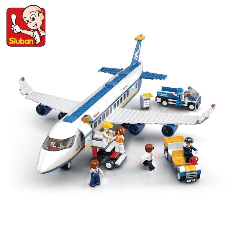 Sluban Blue Airbus Airplane Model Building Blocks 483pcs set DIY Educational bricks toys Compatible with Lego