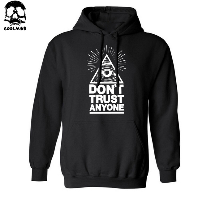 cotton blend do not trust anyone men Hoodies with hat fleece casual loose hoodie men VOVXO sweatshirt 2016 H01