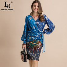 LD LINDA DELLA New Fashion Runway Spring Summer Suits Sexy V-Neck Lantern Sleeve Shirt And Sequined Print Skirt Two Pieces Set