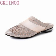 GKTINOO Women Slipper's 2019 Ladies Summer Slippers Shoes Pointed Toe Women Flat Heels Fashion Rhinestone Summer Shoes(China)