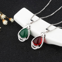 New Silver S925 National Wind Green Chalcedony Pendant with Green Agate Clavicle Chain Mother's Day To Mother's Gift Jewelry 2018 top fashion sale agate s990 peacock peacock cloud chalcedony agate long silver chain sweater pendant wholesale