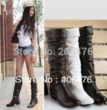 BELIEBTE kostenloser versand Schnee einzigen weiblichen stiefel frühling und herbst flache ferse flachboden hoch bein stiefel weiß schwarz braun
