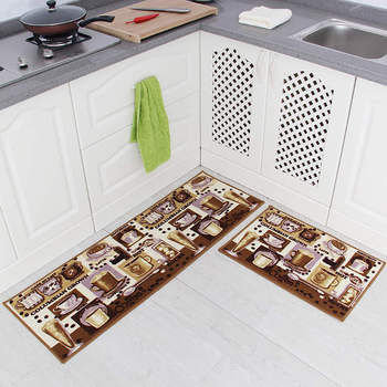 Long and Washable Kitchen Mats or Floor Carpet with Sponge Lining Helps to Absorb Water