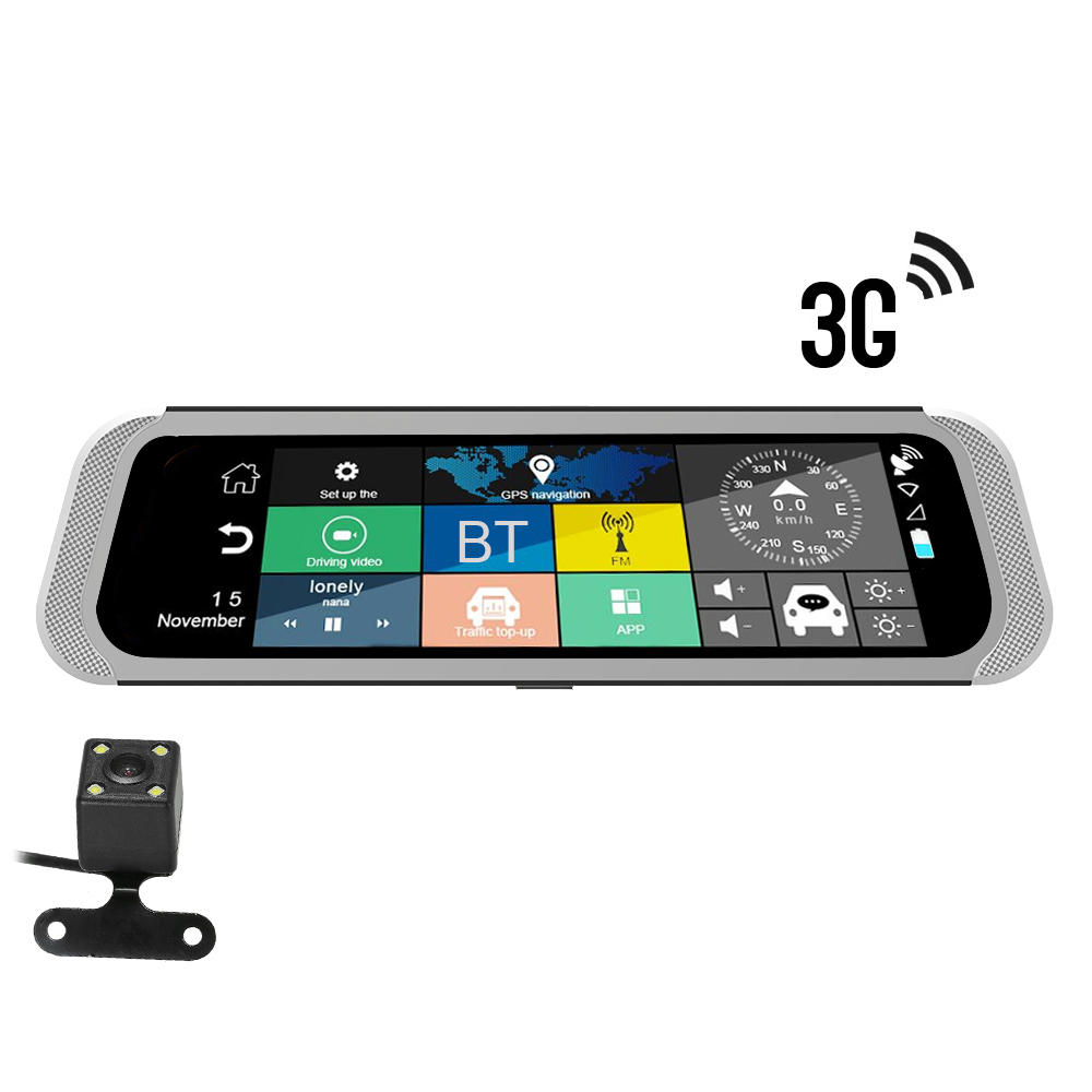 Car-Rearview-Mirror Video-Recorder Dvr Wifi Dash-Cam Gps Navigation Android 12V