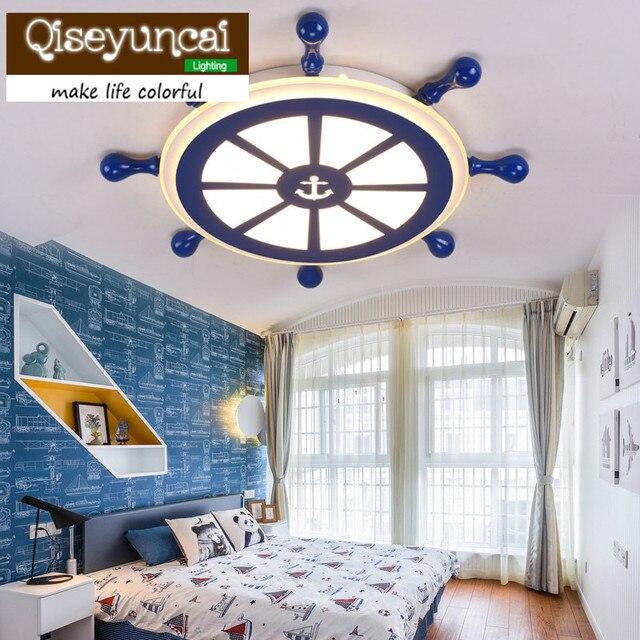 Qiseyuncai 2018 new Mediterranean style children's boat, rudder, acrylic ceiling, cartoon, creative boy bedroom lamp.