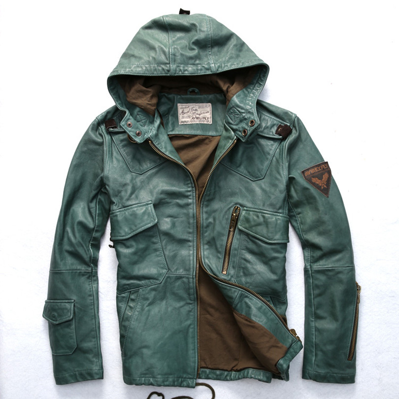 Aliexpress.com : Buy Avirex fly hooded leather jacket men green ...