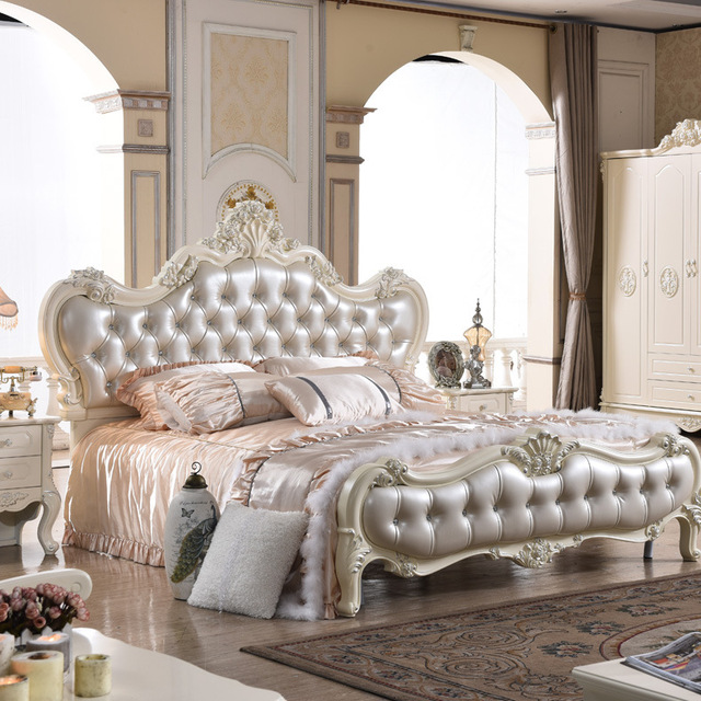 Usine prix royal résine français lit bleu en cuir 180cx200cm dans ...