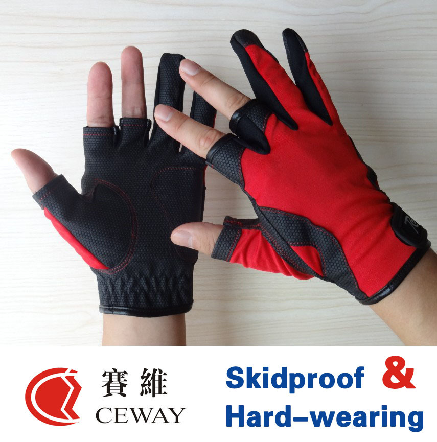 Cutting Fingerless Fishing Gel Protector Glove Comfortable PU Anti Slip Resistant Fishing Gloves Skidproof Nonslip Mittens
