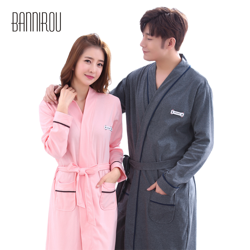 Couple Matching Bathrobe Man Woman 100% Cotton Simple Solid Plus Full Gray  Pink Loose Male Female Lover Spring Autumn Winter New-in Robes from  Underwear ... a1b7831ca