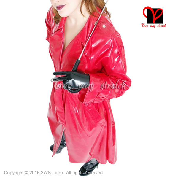 Sexy red Latex matrix coat Long sleeves Rubber Cosplay   Trench   Outfit Oversized Cosplay plus size Top XXXL DY-011