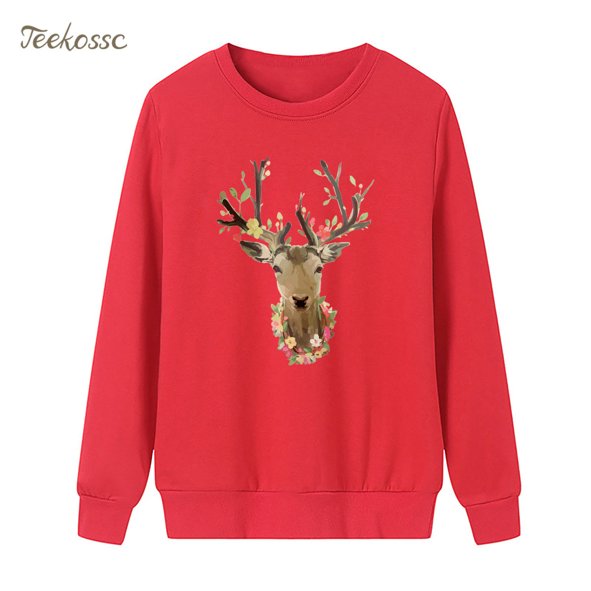 Flower Elk Sweatshirt Red Hoodie 2018 New Design Winter Autumn Women Lasdies Pullover Fleece Loose Casual Streetwear Brand Hoody