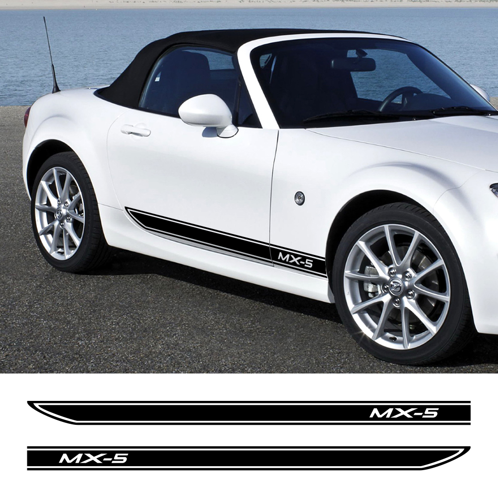 Car Styling Side Skirt Stickers DIY Auto Vinyl Wrap Racing Decals Decoration Automobiles For Mazda MX-5 3 Tuning Car Accessories