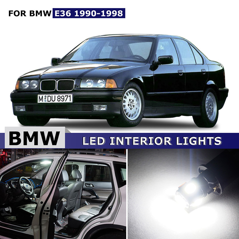 14X White Interior canbus LED Lights Package Kit Map Dome Trunk Light License Plate Lights  Bulbs For BMW E36 1990 - 1998 free shipping 60 17x a4 s4 b5 1998 2001 white led lights interior package kit canbus