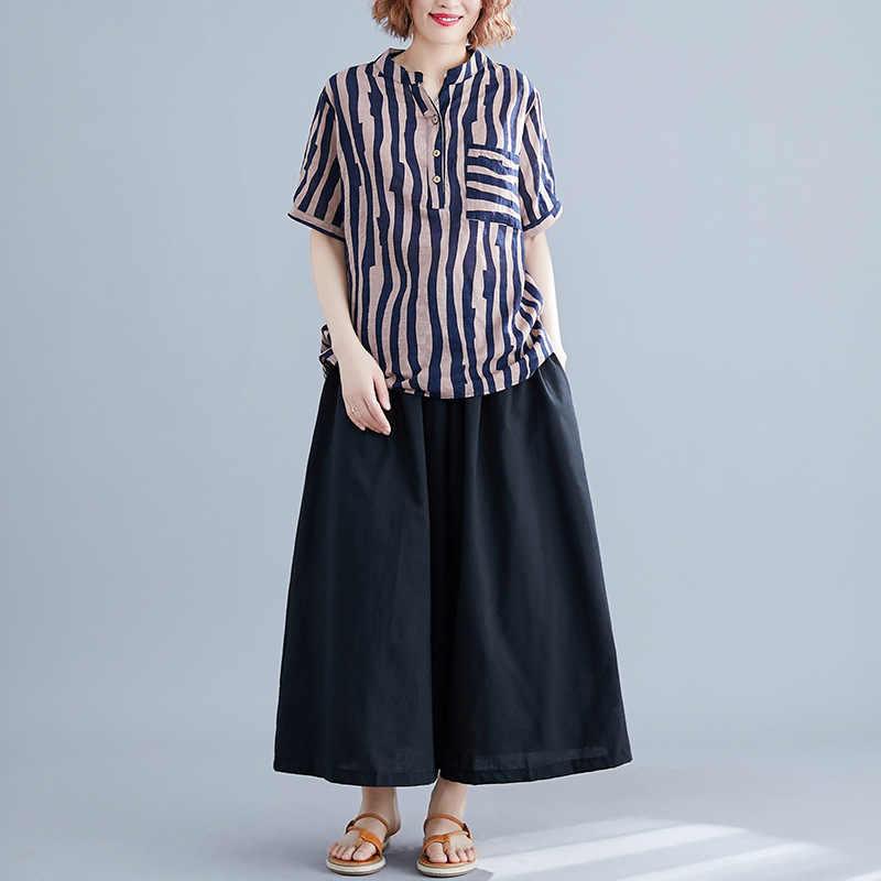 Johnature 2019 na co dzień Plus Sieze dwa kawałki ustawia lato nowy w paski z krótkim rękawem Top elastyczna talia szerokie spodnie nogi zestawy kobiety