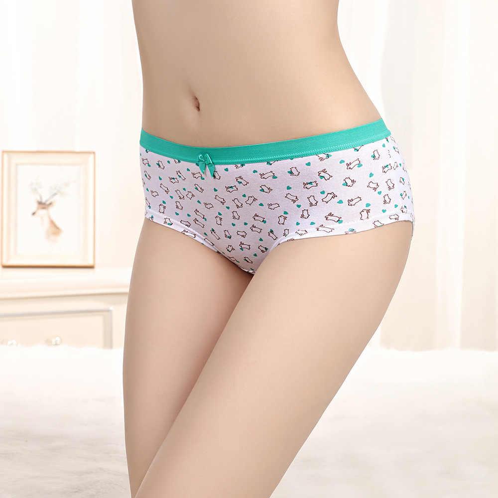 6 pcs/Lot sous-vêtements en coton Pack Femmes Lapin Impression Fille Bref Pantalon prix de gros Blanc Sous-Vêtements