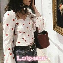 Summer Spring Women Polka Dot Blouse Zipper Full Sleeve Square Neck Strength Tops Blouses 2018 Laipelar