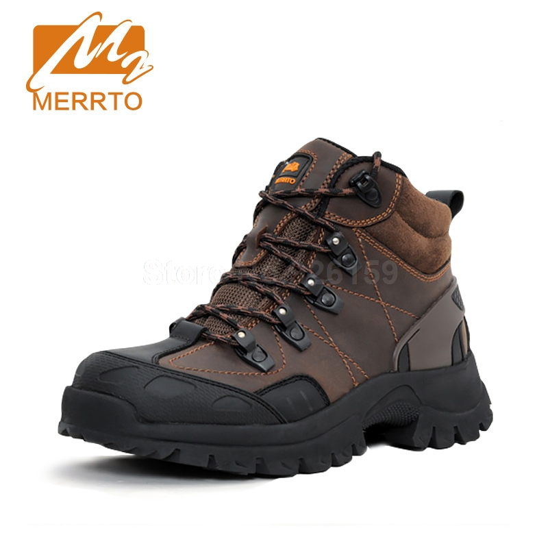 Merrto Hiking Boots Mens Genuine Leather Hiking Shoes Outdoor Trekking Boots Men Sneakers Sports Shoes Winter Boots Men winter warm shoes mens high top hiking shoes athletics outdoor plush ankle boots men sports shoes comfortable climbing sneakers