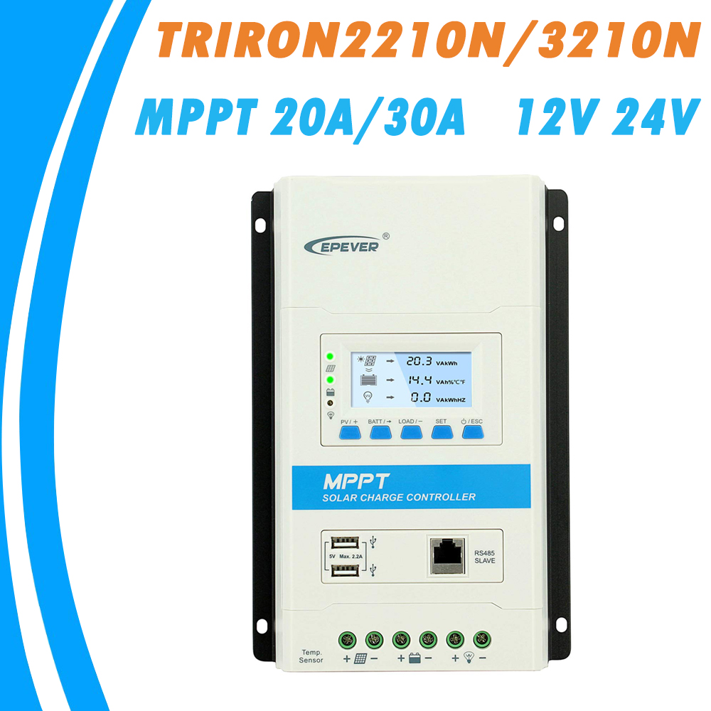 EPEVER TRIRON MPPT 30A 20A 10A Solar Charge Controller 12V 24V Auto Black light LCD Modular