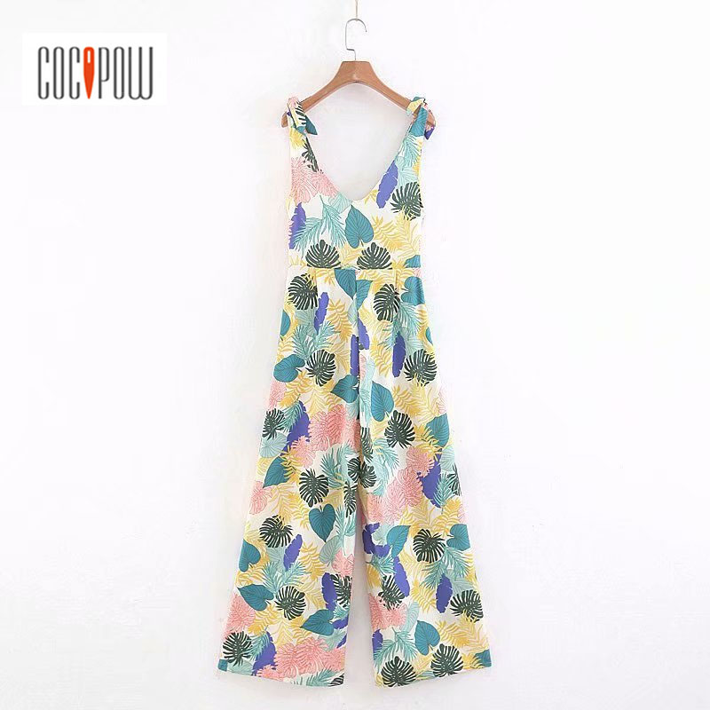 Women Tropical Print Summer Jumpsuit Deep V Neck Bow Straps Sleeveless Upper Wide Leg Pants Causal Wear Summer Mujer Vestidos
