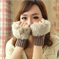 Autumn And Winter Fleece Imitation Rabbit Fur Mittens Cute Kawaii Female Gloves Knitted Mittens Women Wholesale