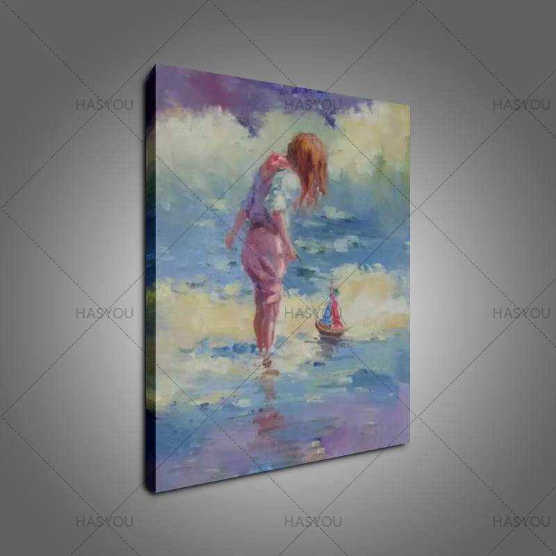 Hand Painted oil painting Wall Art Home Decoration Wall Picture Abstract Paintings pretty girl Oil Painting On Canvas home decor in Painting Calligraphy from Home Garden