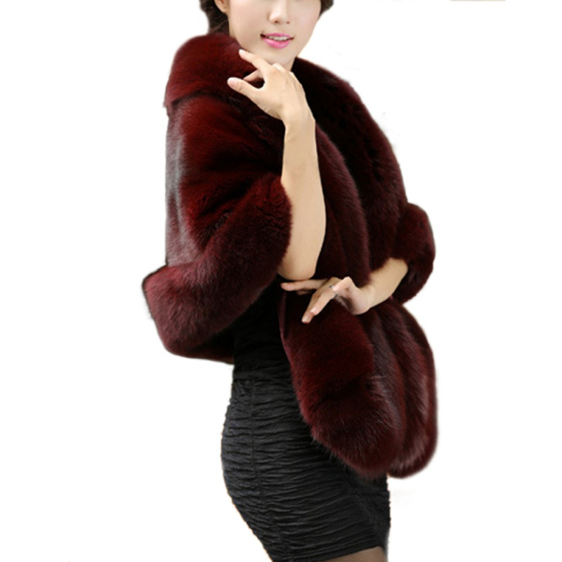 2018 Winter Faux Fur Coats Luxury Fox Fur Women Vest Imitation Mink Fur Poncho Bridal Wedding Dress Shawl Cape Fur Coat